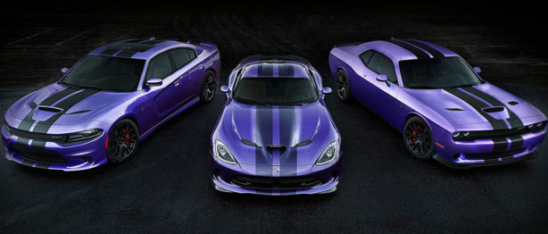 2016 Challenger and Charger SRT Hellcat Models Earn Exclusive Stripes, Plum Crazy Paint Extended