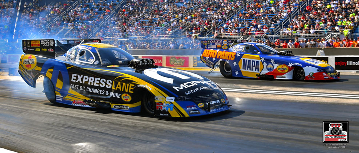 Two racecars racing at Route 66 Nationals