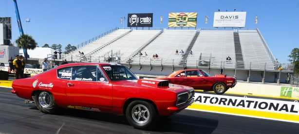 1968 red Barracuda at the start line