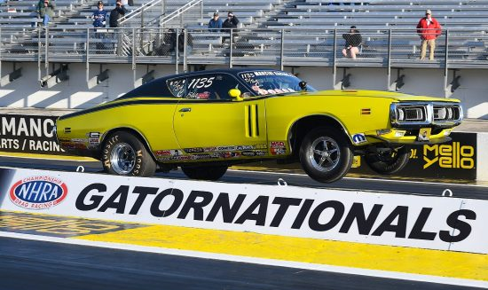 1971 Charger yellow R/T pops wheelie at the start line