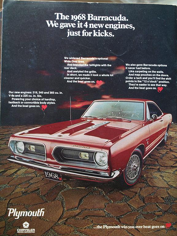 1968 Barracuda displays the hardtop body