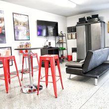 A furnished garage
