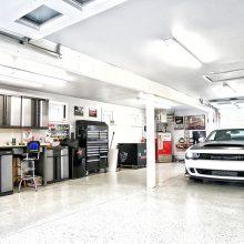 a dodge demon in a garage
