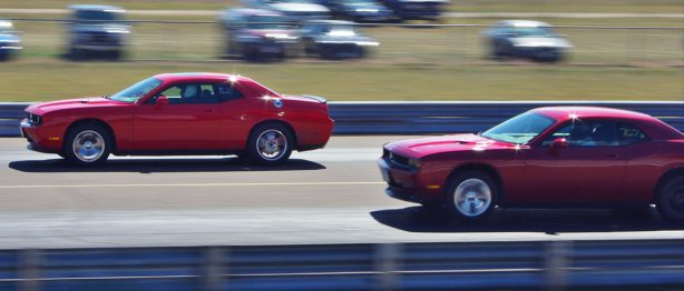 Two Dodge Challengers Racing