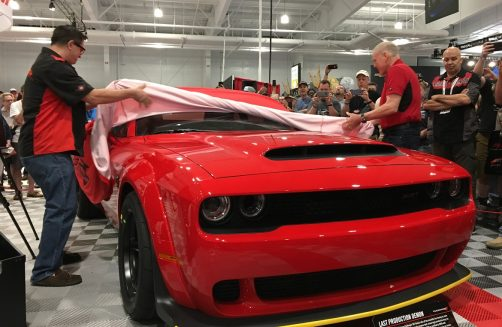 The Dodge Demon SRT being auction at last chance auction at Barrett Jackson NE
