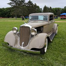 1933 Dodge front view of Grill on grass