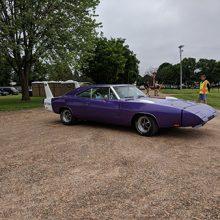 purple older racecar