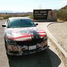 Dodge Charger infront of Big Bend National Park