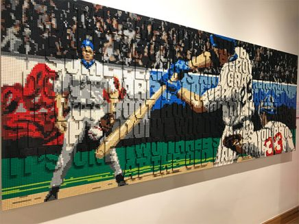 baseball mural built out of legos