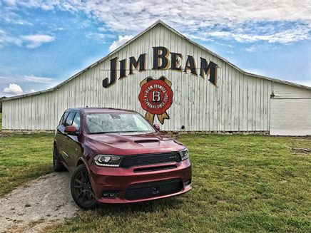 Dodge Durango infront of a Jim Beam Barn