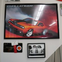 Framed picture of a go mango dodge challenger