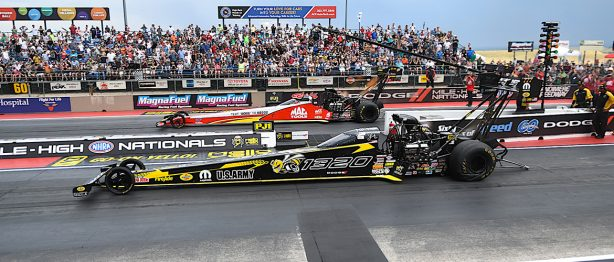 Two top thrill dragsters racing at Mile High