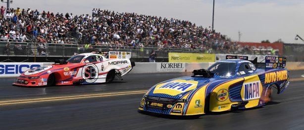 Two cars racing at NHRA Sonoma