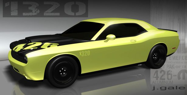 computer drawing of a yellow 1320 challenger