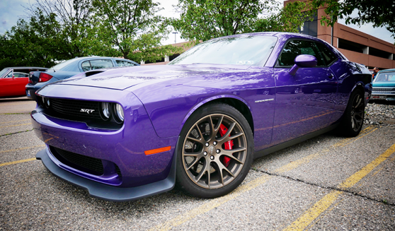 Purple supercharged dodge challenger