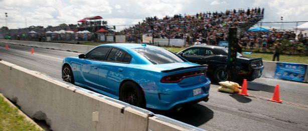 Blue charger racing at roadkill nights