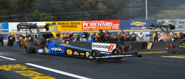 Leah Pritchett racing her Mopar top fuel dragster