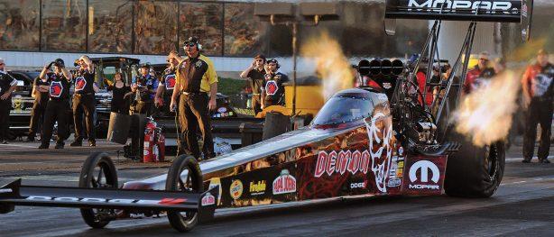 Leah Pritchett racing her Dodge Demon top fuel dragster