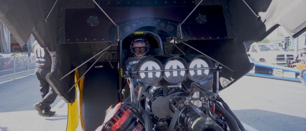 Leah Pritchett sitting inside of her Top Fuel Dragster