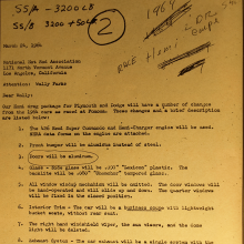 """Dated March 24, 1964, this once-secret memo from Dodge to NHRA president Wally Parks outlines the """"package"""" behind the 1964 Dodge 330 (and Plymouth Savoy) A864 lightweight HEMI sedan. Line 5 indicates the switch from manual door glass wind up mechanisms to simple Ferrari-esque pull-straps. For contrast, in Dodge's new 2019 Challenger Scat Pack 1320, the door glass controls are power operated! Have we gone tame? Nope. The electric equipment is actually much lighter than old-school roll-up window regulators. The strip-only Challenger LC22R Drag-Pak also uses electric door window controls – with plastic windows."""