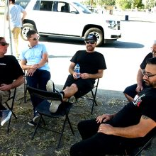 The (partial) Motor Trend on Demand brain trust took shelter from the sun between rounds at Buttonwillow. From left to right: Steve Dulcich (Roadkill, Engine Masters), Jethro Bovingdon (Head 2 Head), Mike Finnegan (Roadkill, Finnegan's Garage), Lucky Costa (Hot Rod Garage) and (foreground) Tony Angelo (Hot Rod Garage).