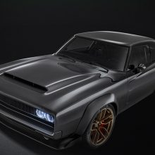 "Highlights of the 1968 Dodge ""Super Charger"" Concept include a hood scoop based on the Dodge Challenger SRT Demon, Dodge Challenger SRT Hellcat headlamps placed behind the grille and shaved door handles and drip rails, creating a clean, streamlined appearance."