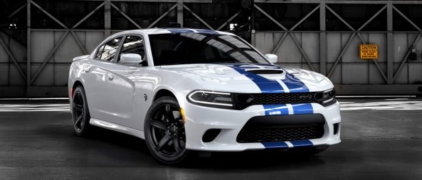 White Charger Hellcat with blue dual stripes