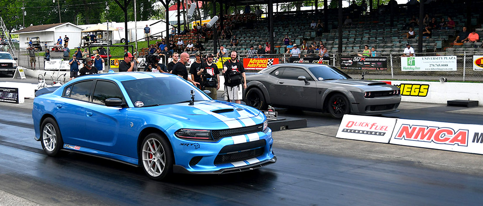 Gray Demon lining up against blue Hellcat