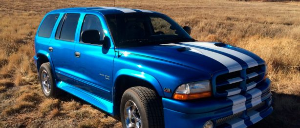 Blue and white 1996 Dodge Shelby Durango