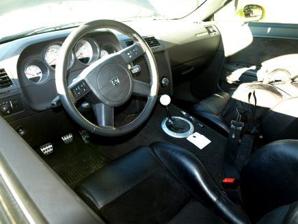 Cockpit of the 2011 1320 concept car showing stearing column and front seat details