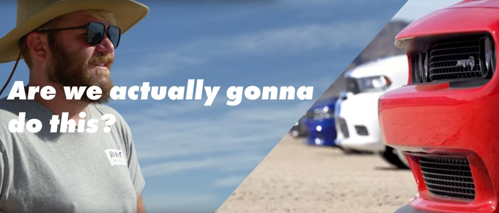 Drag racing 2,000 horsepower of Dodge muscle on a dry lake bed