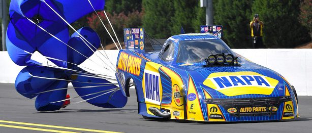 Napa Auto Parts Dodge Funny Car slowing down with chute deployed