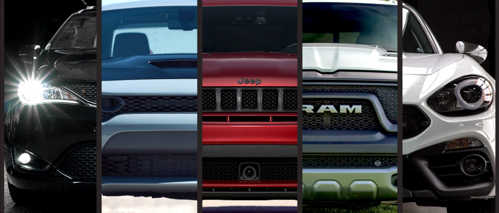 Front end of a vehicle from each FCA brand