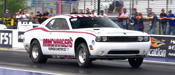 White Ramchargers Drag Pak racing down the drag strip