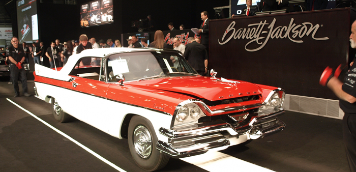 Red and white 1957 D-501 Coronet at Barrett-Jackson auction