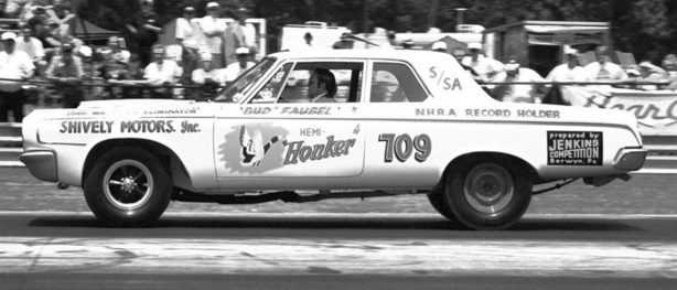 Old Dodge racing at an NHRA race