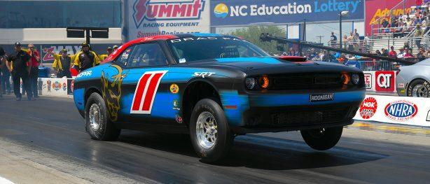 Leah Pritchett racing her Dodge Challenger Drag Pak