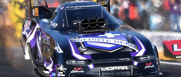 Jack Beckman's Infinite Hero Funny Car racing at NHRA Winternationals