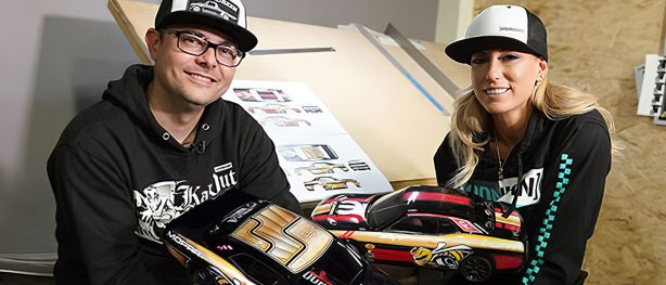 Hoonigan and Leah Pritchett showing off 2 livery options for Leah's Drag Pak