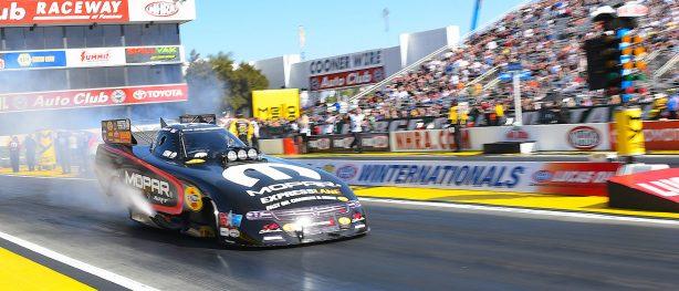 Matt Hagan racing his funny car at NHRA Winternationals