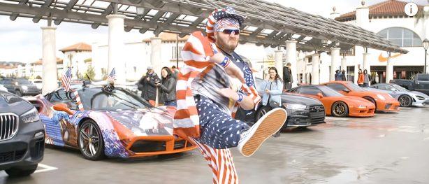James Pumphrey dressed in american flag attire