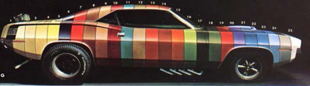 Dodge Challenger Painted in stripes of heritage colors