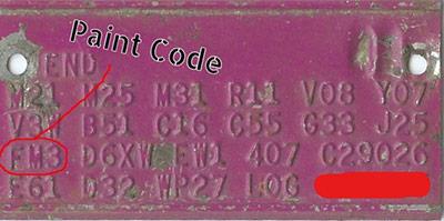 Chrysler paint code plate