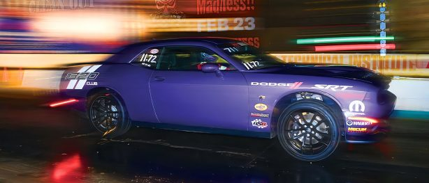 Plum Crazy Dodge Challenger 1320 racing