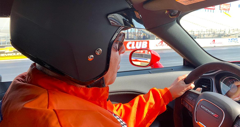Man preparing to race a 1320 Drag Pak