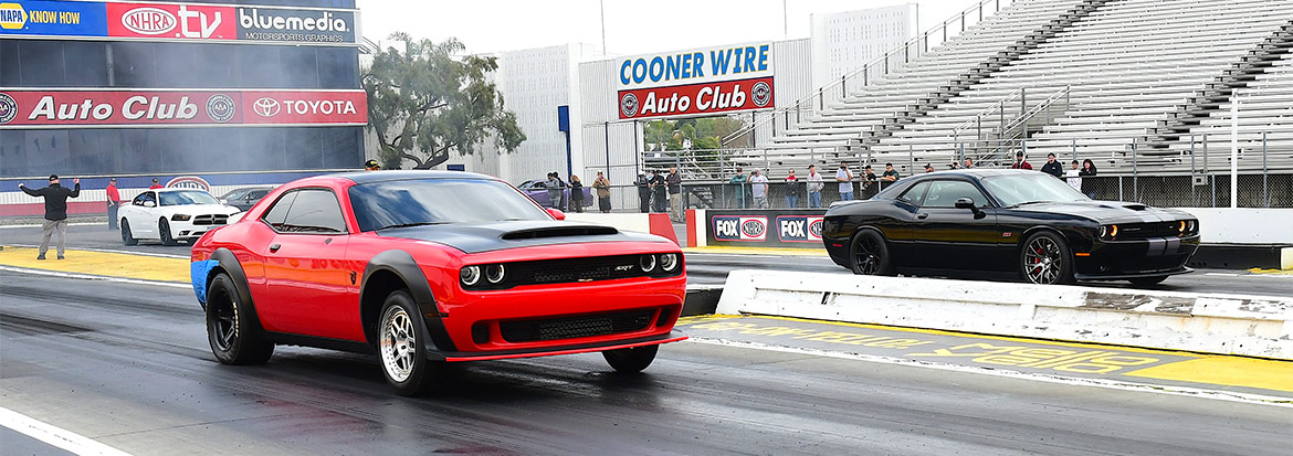 Red and Black Challengers racing each other