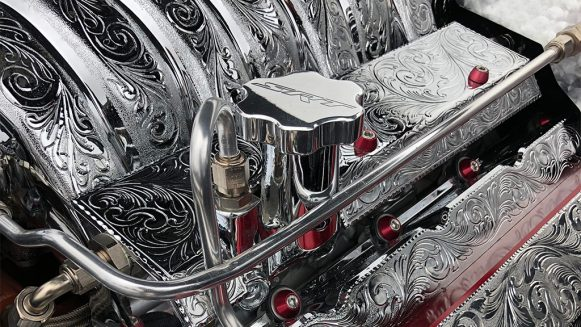 Custom Dodge SRT engine with intricate carving