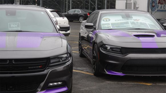 2 Plum Crazy Chargers with flat black stripes