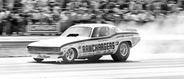Ramchargers Challenger racing down the track at Gatornationals