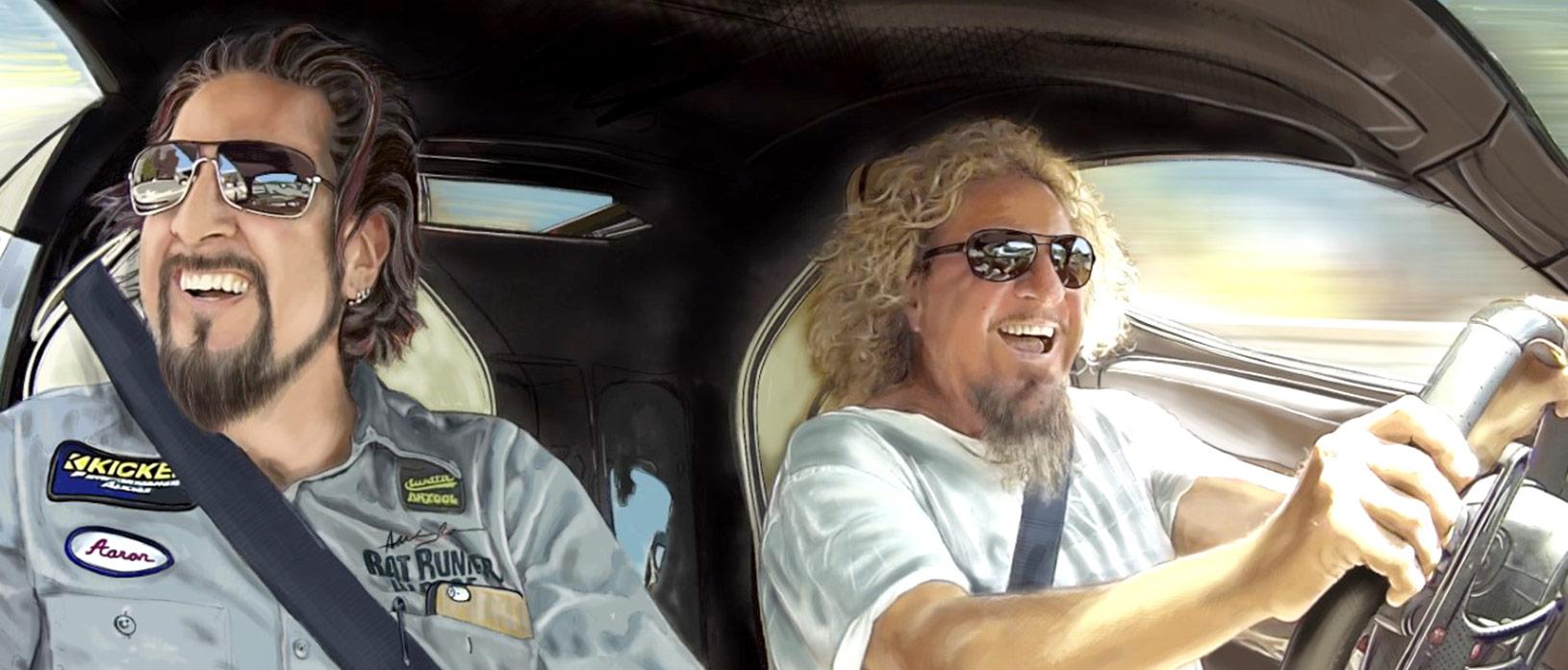 Aaron & Sammy Hagar driving in a car all smiles